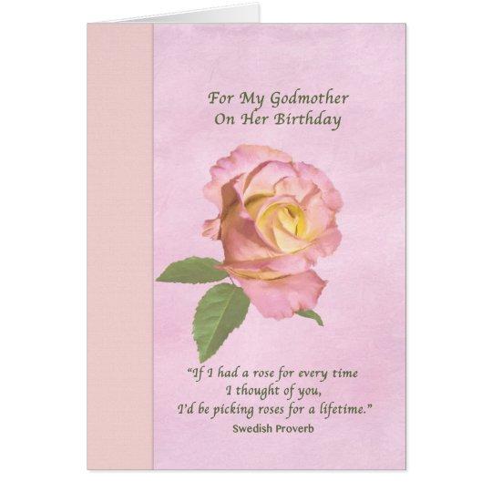 Birthday, Godmother, Peace Rose Card