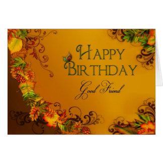 BIRTHDAY - GOOD FRIEND - AUTMN LEAVES GREETING CARD