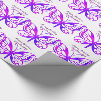 Birthday, granddaughter, butterflies gift wrap. wrapping paper