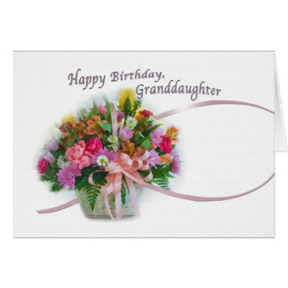 Birthday, Granddaughter, Flower Basket Card