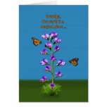 Birthday, Grandpa, Sweet Peas and Butterflies Greeting Card
