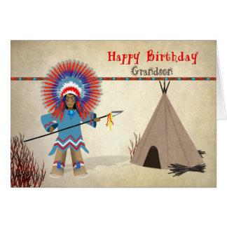 Birthday - Grandson - Native Indian Fun Card