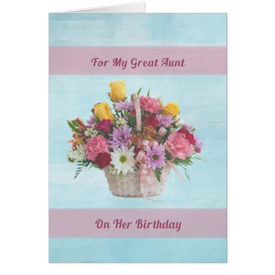 Birthday, Great Aunt, Colourful Flowers in a Card