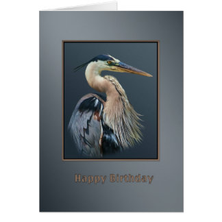 Birthday, Great Blue Heron Bird in Silver and Grey Greeting Card