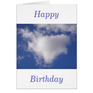 Birthday greeting card cloud heart