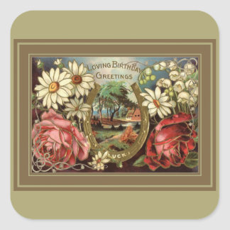 Birthday Greeting With Roses Square Sticker