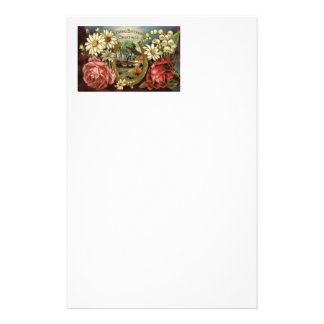 Birthday Greeting With Roses Stationery