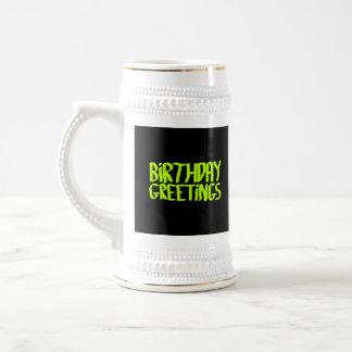 Birthday Greetings. Green and Black. Custom 18 Oz Beer Stein