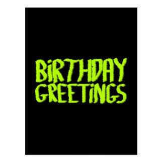 Birthday Greetings. Green and Black. Custom Postcard