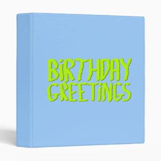 Birthday Greetings. Green and Blue. Custom Vinyl Binders