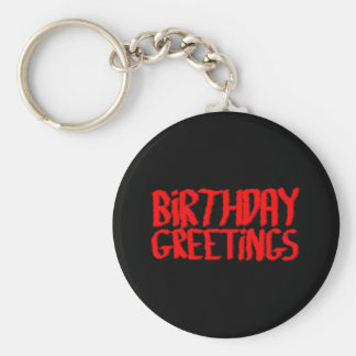 Birthday Greetings. Red and Black. Basic Round Button Keychain