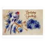 Birthday Greetings Vintage Fabric Bird Postcard