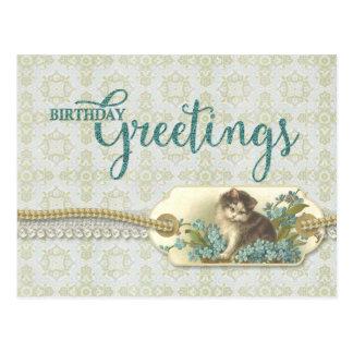 Birthday Greetings Vintage Kitty Reproduction Postcard