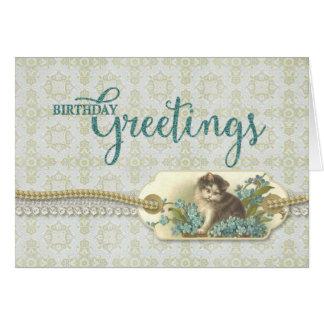 Birthday Greetings Vintage Kitty tag Card