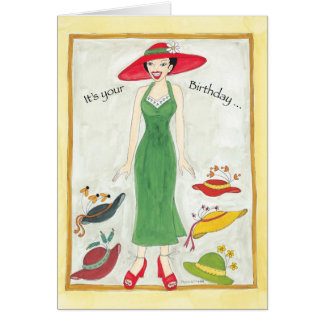 Birthday Hat Girl Card