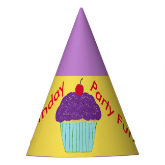 Birthday Hats Purple Frosting Cupcake Balloons