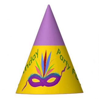 Birthday Hats Purple Mardi Gras Mask Balloons