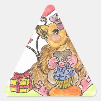 Birthday Hedgehog Triangle Sticker