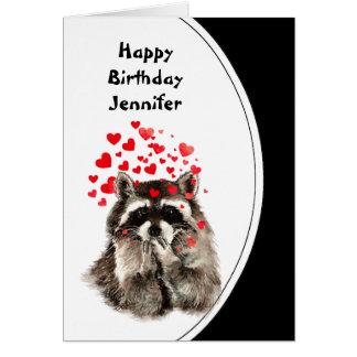 Birthday Hugs & Kisses Raccoon Animal Custom Card