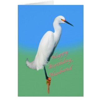 Birthday, Husband, Snowy Egret on a Limb Card