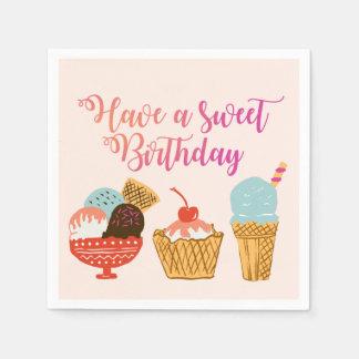 Birthday Ice Cream Illustration Napkin