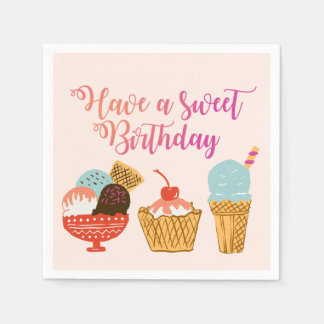 Birthday Ice Cream Illustration Paper Napkins