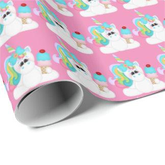 Birthday ice cream Unicorn girls wrapping paper