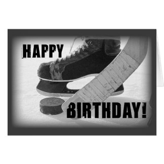 Birthday Ice Hockey, Stick and Puck Greeting Card