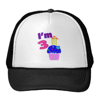 "Birthday ""I'm 3""---Adorable Cupcake Design Trucker Hat"