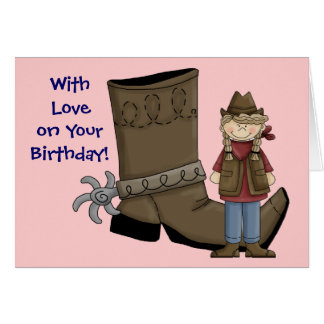 Birthday I'm a Lucky Girl Cowgirl & Card - Western