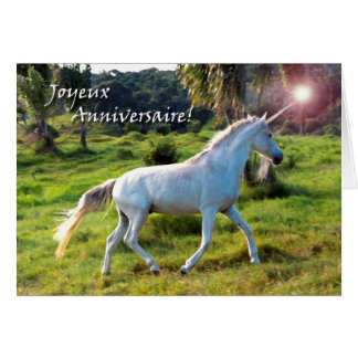 Birthday in French, Magical Unicorn Card