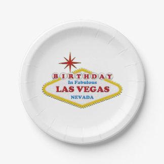 "Birthday in Las Vegas Custom Paper Plates 7"""