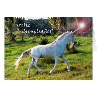 Birthday in Spanish, Magical Unicorn Running Greeting Card