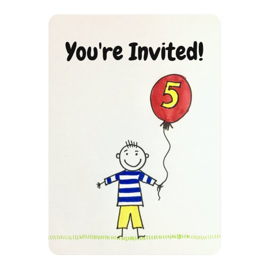 Birthday Invitation 5 Years Old Boy With Balloon Card