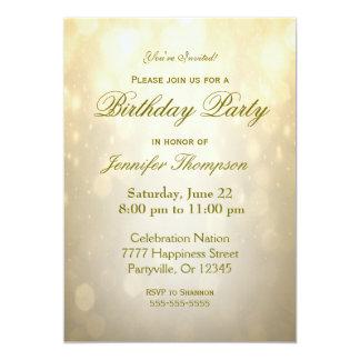 Birthday Invitation | Gold Bokeh