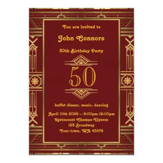 Birthday invitation Man 50th, great Gatsby style