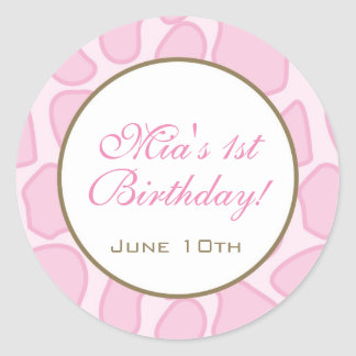 Birthday Invitation or Favor Sticker - Pink