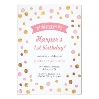 Birthday Invitation | Pink and gold confetti spots