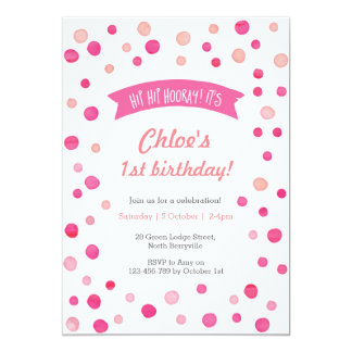 Birthday Invitation | Pink confetti spots