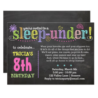 Birthday Invitation-SleepUNDER Party, Neon Card