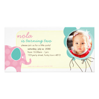 BIRTHDAY INVITE PHOTOCARD :: elephant + balloons 7 Photo Greeting Card