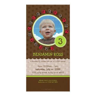 BIRTHDAY INVITE PHOTOCARD :: ladybird circle 3P Custom Photo Card