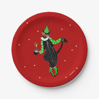Birthday Jester Cat 7 Inch Paper Plate