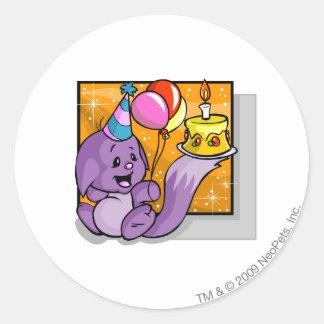 Birthday Kacheek Classic Round Sticker