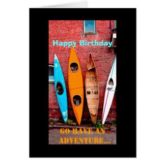 Birthday kayak greeting card photo art kayaks