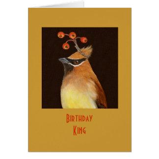 Birthday King card with cedar waxwing