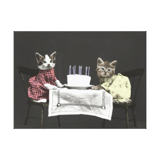 Birthday Kitties Wrapped Canvas Stretched Canvas Print