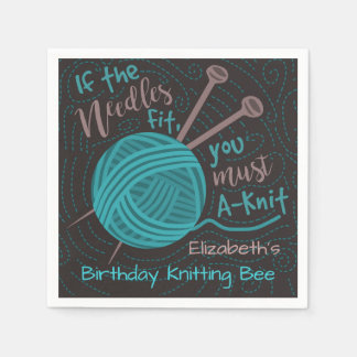 Birthday Knitting Bee Party | Funny Knitting Yarn Paper Napkins