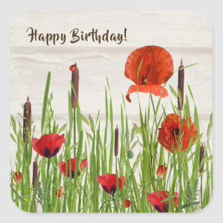 birthday-lady bug on red poppies with cattails square sticker