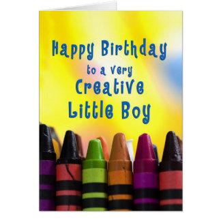 birthday - little boy - crayons card